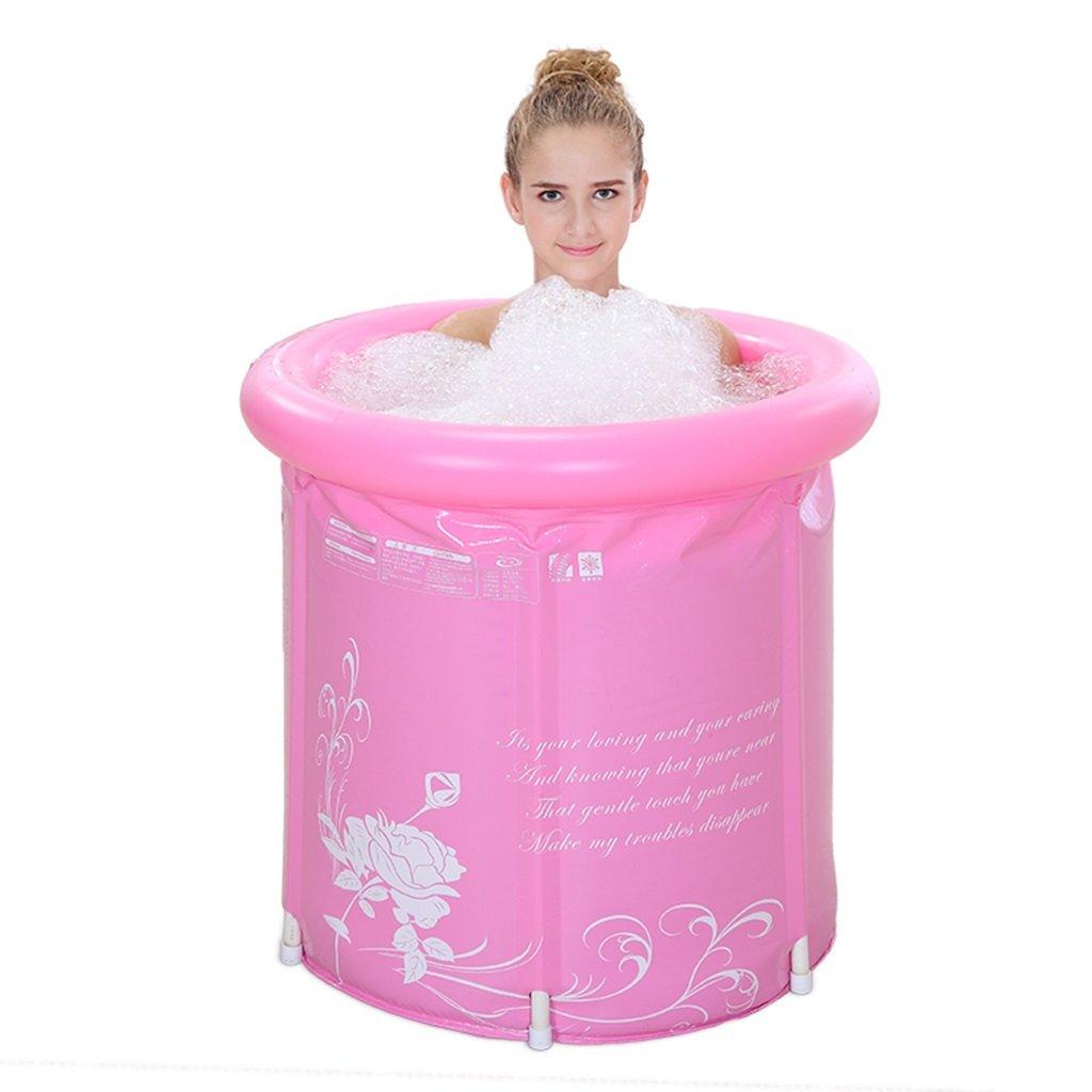 Thicker water Folding tub Adult bath Inflatable bathtub Bath barrel Bathtub Bath bucket (Color : Pink)