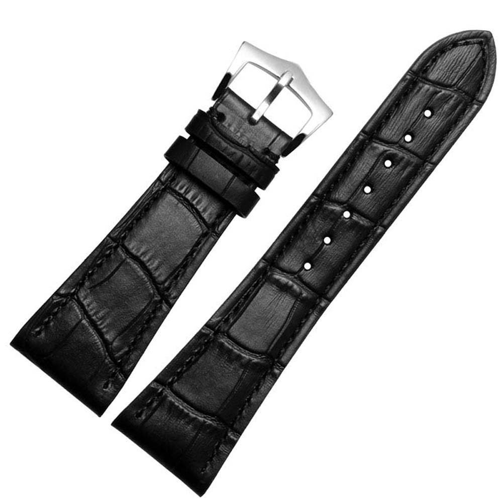 Patek Philippe腕時計用 GUANQIN 本革時計バンド 最高級 カーフ グレイン レザー 腕時計ストラップ ベルト 25mm ブラック ブラック ブラック B0774DH16N
