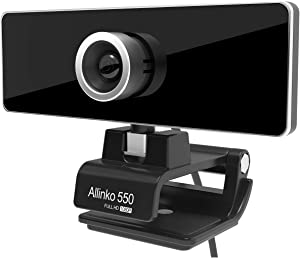 Allinko 550 Webcam 1080P, Zoom Skype Web Camera Noise Cancelling Microphone, Skype Zoom Web Cam Full HD for PC Laptop Computer, Plug Play for Windows 10/8 / 7 Mac OS X, Wide Angle Lens