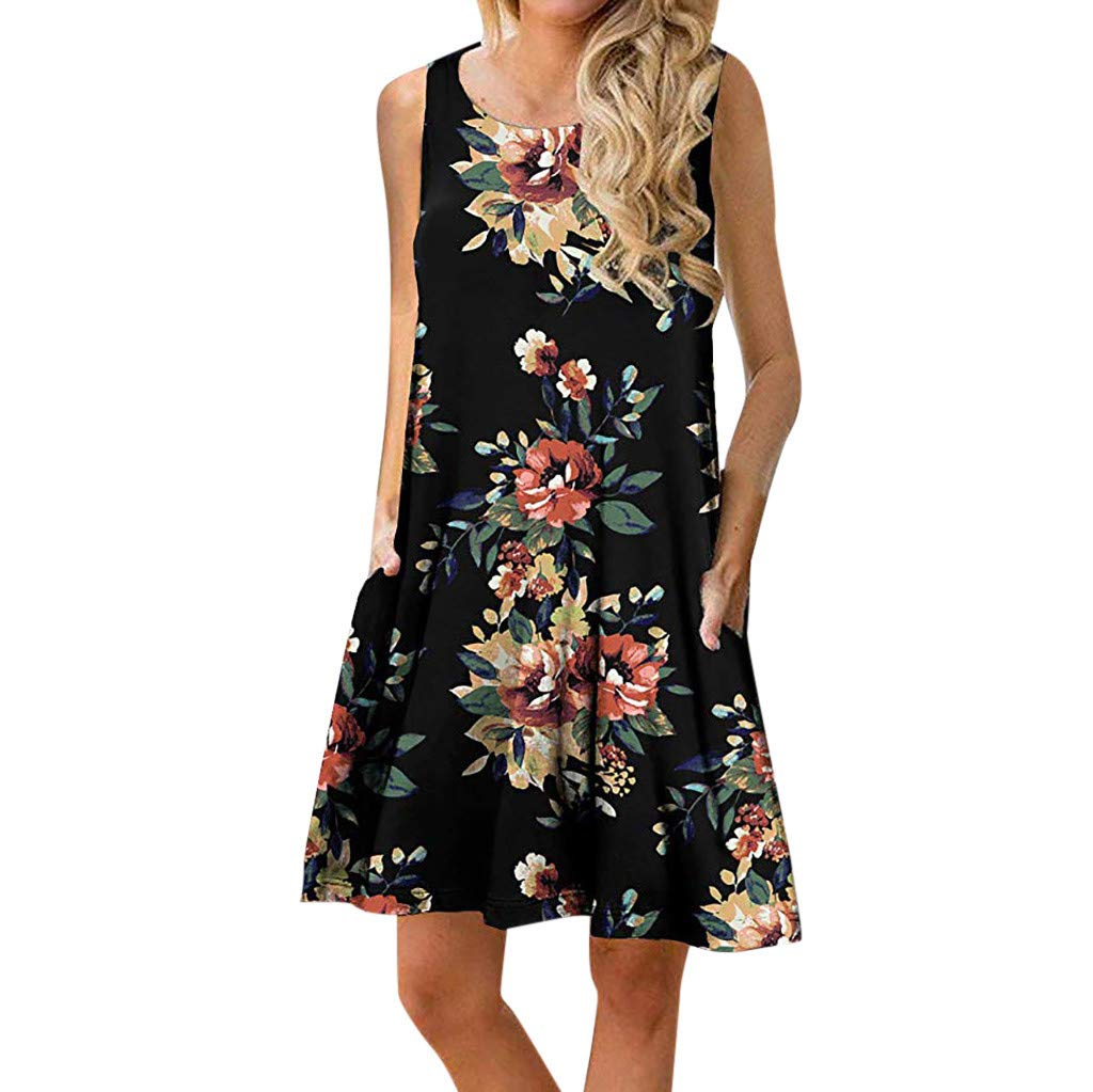 Zaidern Women Dress Women's O Neck Casual Print Sleeveless Above Knee Dress Loose Party Mini Dresses Sundress Black
