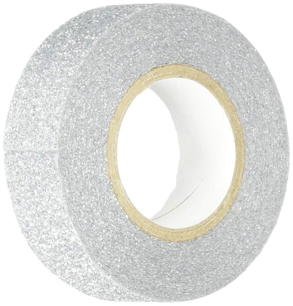 Cinta adhesiva con glitter plateado (15mm ancho x 5m)