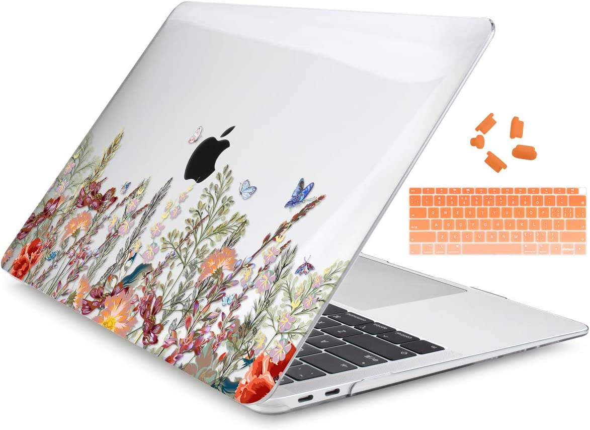 "Dongke MacBook Air 13 Inch Case 2020 2019 2018 Release Model: A2179/A1932, Crystal Clear Hard Shell Cover for MacBook Air 13"" with Retina Display & Touch ID - Floral Illustration"