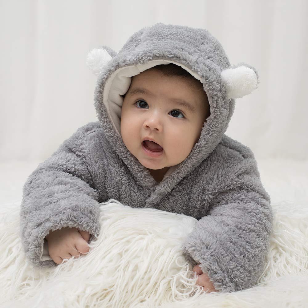 FIRENGOLI Unisex Baby Cloth Winter Coats Cute Newborn Infant Jumpsuit Snowsuit Bodysuits (Grey,0-3 M)