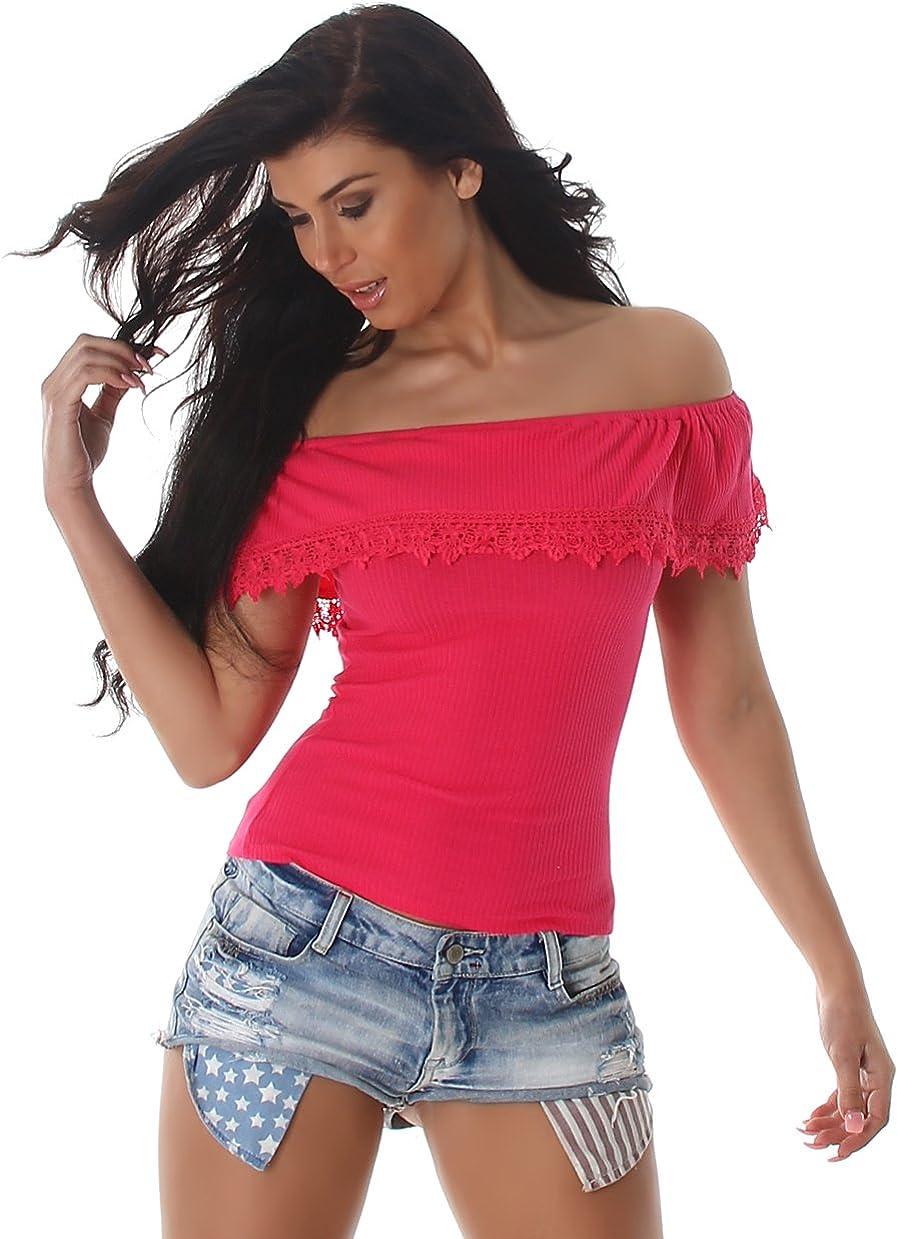 Damen Feinriipp T-Shirt Kontrast Bordüren Carmen Top Rundhals 34 36 38 40 rot