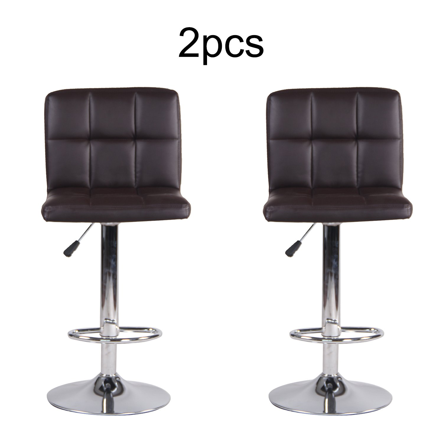 2 PCS Bar Stools Set with Backrest, Leatherette Exterior, Adjustable Swivel Gas Lift, Chrome Footrest and Base for Breakfast Bar, Counter, Kitchen and Home (Brown)