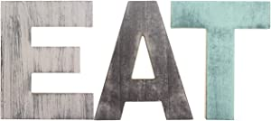 HAOLIVE Rustic Wood Home Decorative Sign Freestanding Cutout Word Decor,Multicolor (EAT 7''x5.5'')