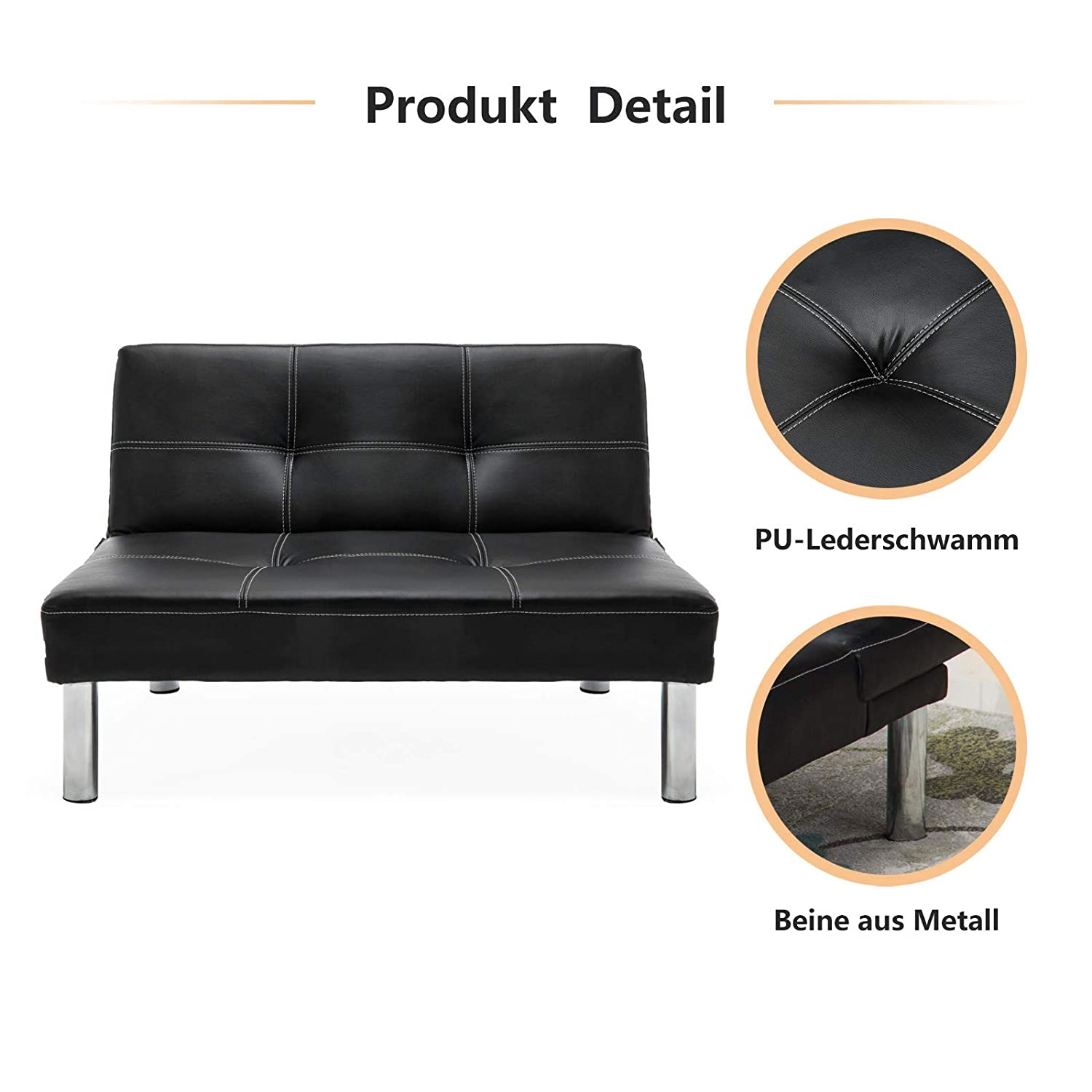Mecor Leder Sofabett Sofa Couch Schlafcouch Schlafsofa Bettsofa In