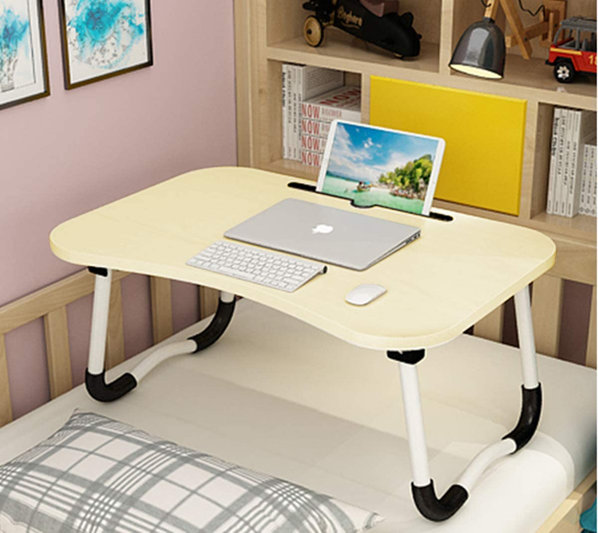 Laptop Bed Table, Breakfast Tray with fold-able Legs, Portable Lap Standing Desk, Notebook Stand Reading Holder for Couch Sofa Floor Kids - Standard Size