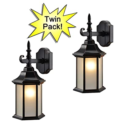 Hardware House 19-2132 Oil Rubbed Bronze Outdoor Patio / Porch Wall Mount Exterior Lighting Lantern Fixtures with Frosted Glass - Twin Pack: Home Improvement