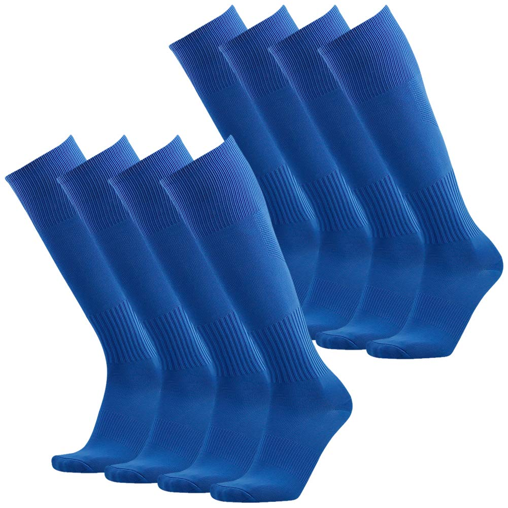 Three street Girls Football Socks Breathable, Unisex Thick Cushioned Solid Long Knee High Sport Athletic Soccer Running Cycling Compression Socks for Dance Group Blue 8 Pairs by Three street