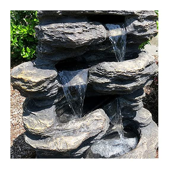 "24"" Rock Waterfall Garden Fountain w/LED Lights: Perfect Garden Water Feature, Patio Fountain, Outdoor Fountain. Features Elegant Waterfall Flow - ✔ DIMENSIONS: 24"" Tall x 19"" Wide x 13"" Deep - WEIGHT: 22lbs - COLOR: Slate ✔ QUICK AND EASY out of the box set up - Perfect water feature for outdoor, gardens, backyards, decks, patios and porches ✔ DURABLE light-weight cast resin and fiberglass water fountain - Individually hand finished by skilled artisans - patio, outdoor-decor, fountains - 61ASI1vMiJL. SS570  -"