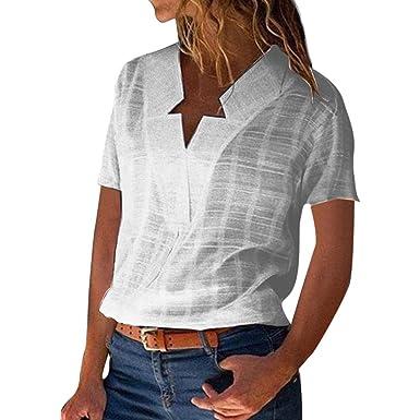 Camisa Mujer, Blusas Color sólido Shirt Lino Camiseta Cuello ...