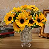 Qianle Artificial Flowers Sunflowers 7 Heads Home Party Wedding Decor 1 PC