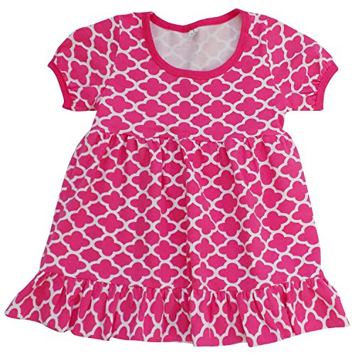 Price comparison product image So Sydney Toddler & Girls Valentine Stretch Cotton Short Sleeve Boutique Dress (110 (XS 4T/5T), Hot Pink Quatrefoil)