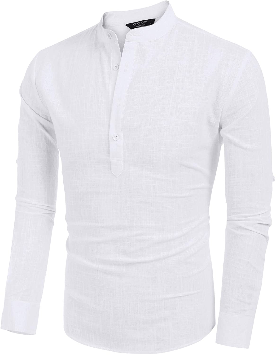 LecGee Mens Cotton Linen Henley Shirt Casual Long Sleeve Hippie T Shirt Beach Yoga Tops