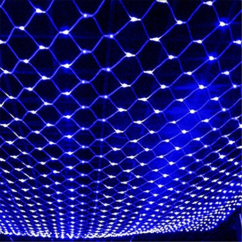 Docheer LED Net Mesh String Fairy Light 204 LEDs, 6.56 Ft x 9.84 Ft,8 Modes, Blue Outdoor Transparency String Lights Waterproof Christmas Decorative Lights for Christmas Tree, Holiday, Party (Icicle Lights Blue Christmas)