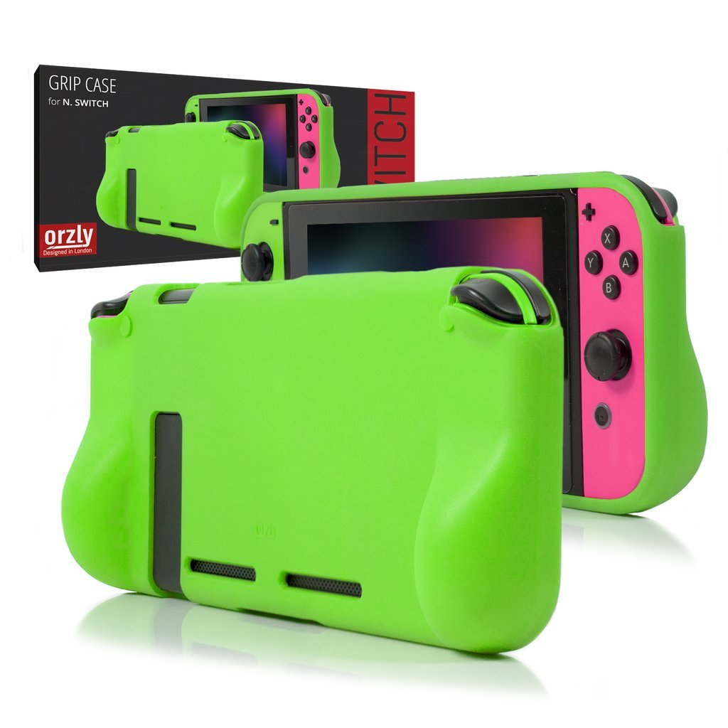 ORZLY® Comfort Grip Case for Nintendo Switch - Protective Back Cover for use on the Nintendo Switch Console in Handheld GamePad Mode with built in Comfort Padded Hand Grips - GREEN product image