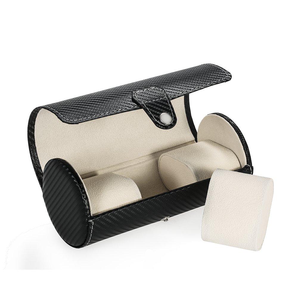 MiTime Watchボックス3スロット用時計ケースPUレザーウォッチボックスオーガナイザーメンズレディースジュエリーストレージケース B07B7B631V Carbon Fiber Black Carbon Fiber Black