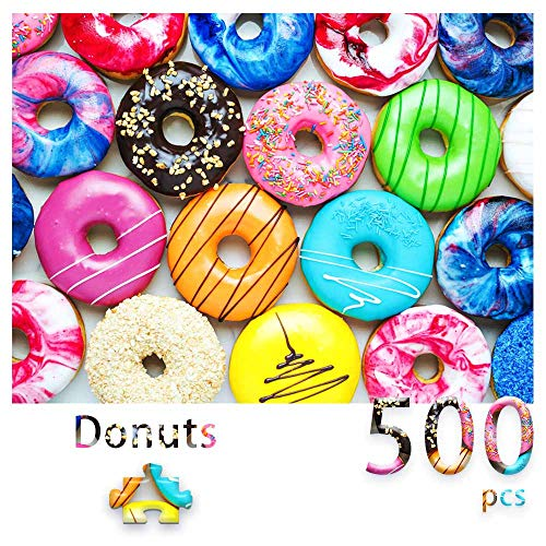 500 Pieces Jigsaw Puzzles Donuts for Adults and Teens and Kids Family Happy Gift Idea