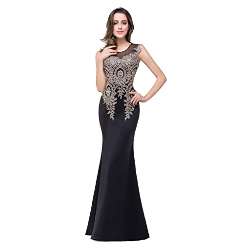 MisShow Womens Rhinestone Long Lace Formal Mermaid Evening Prom Dresses