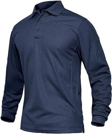 EKLENTSON Hombre Camisas - Polos Militares de Manga Larga Camisetas Deportivas de Golf Camisas Tácticas Ligeras de Secado Rápido: Amazon.es: Ropa y accesorios
