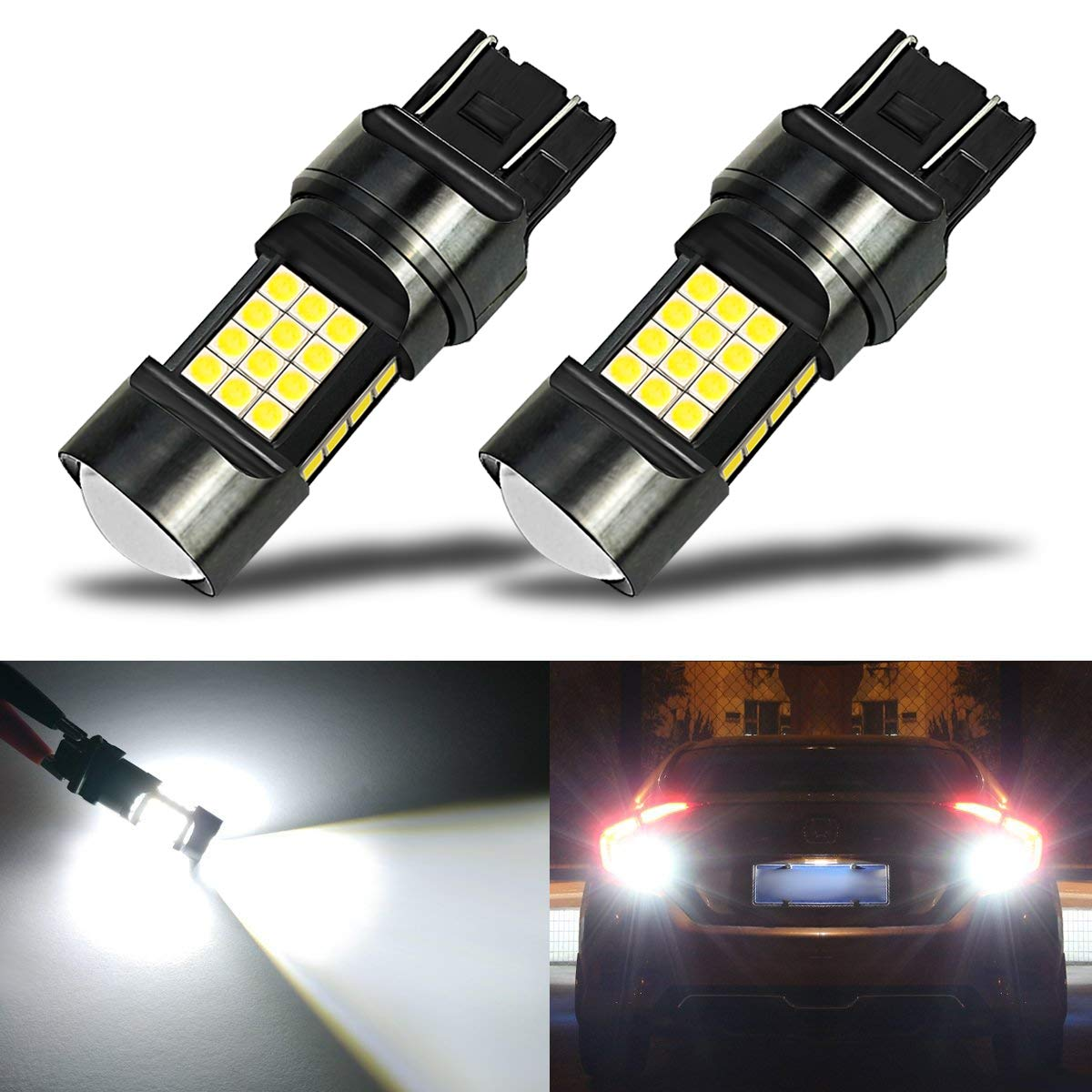iBrightstar Newest Extremely Bright 36-SMD 3030 Chipsets 7440 7441 7443 992 LED Bulbs with Projector Lens replacement for Back Up Reverse Parking Daytime Running Lights Xenon White