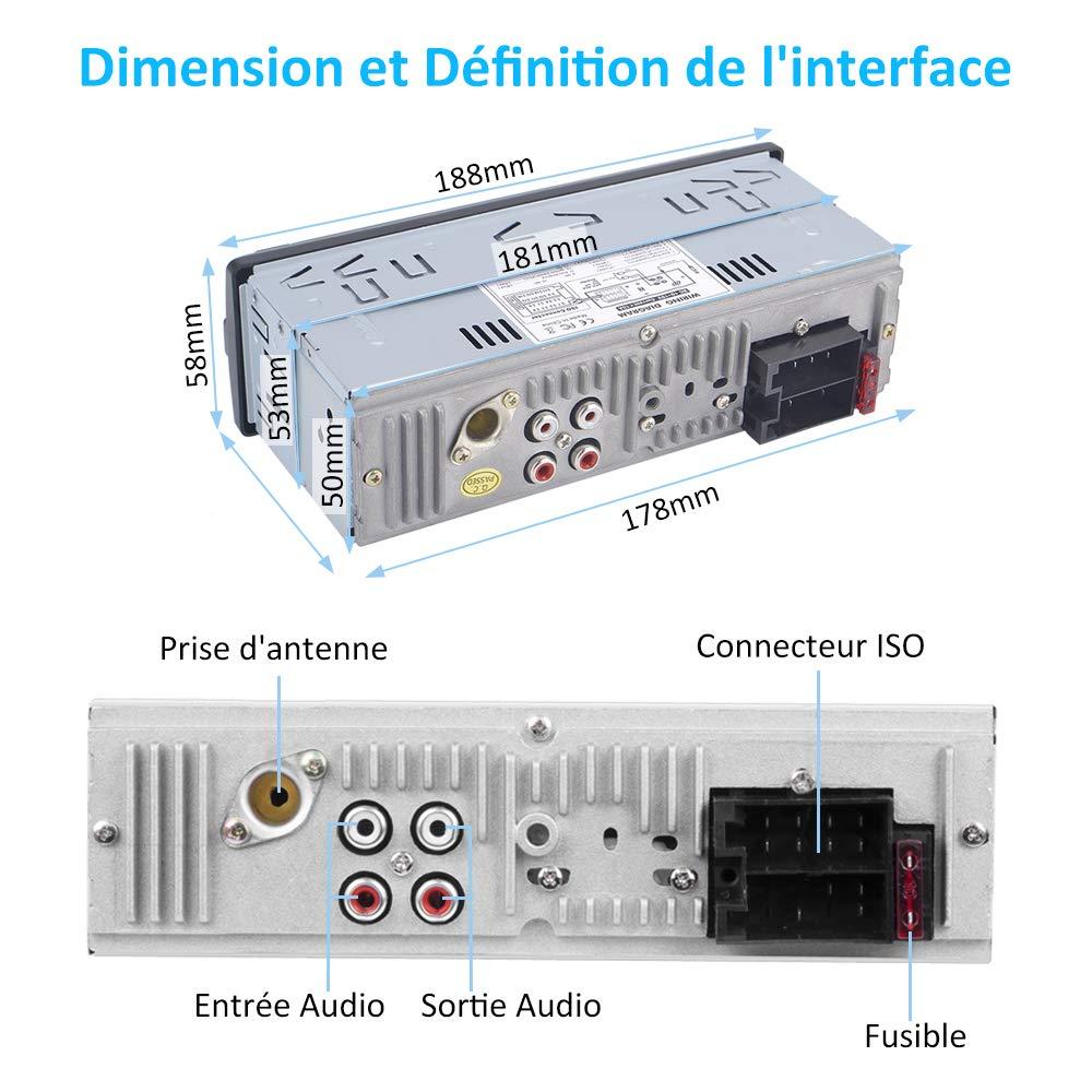 Autoradio Bluetooth Main Libre, Poste Radio Voiture 1 Din, 2 Ports USB et Carte TF, AUX/BT/Microphone, Supporte Max 32G de Mémoire Card, Voiture Stéréo Récepteur Lecteur MP3 Radio FM