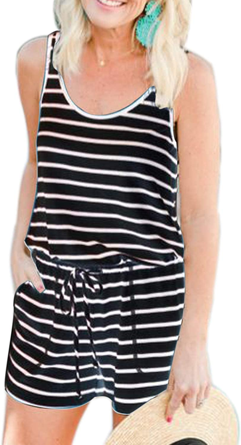 Womens Striped Jumpsuits Vest Tank Top Casual Playsuit Long Pants Rompers Black,M