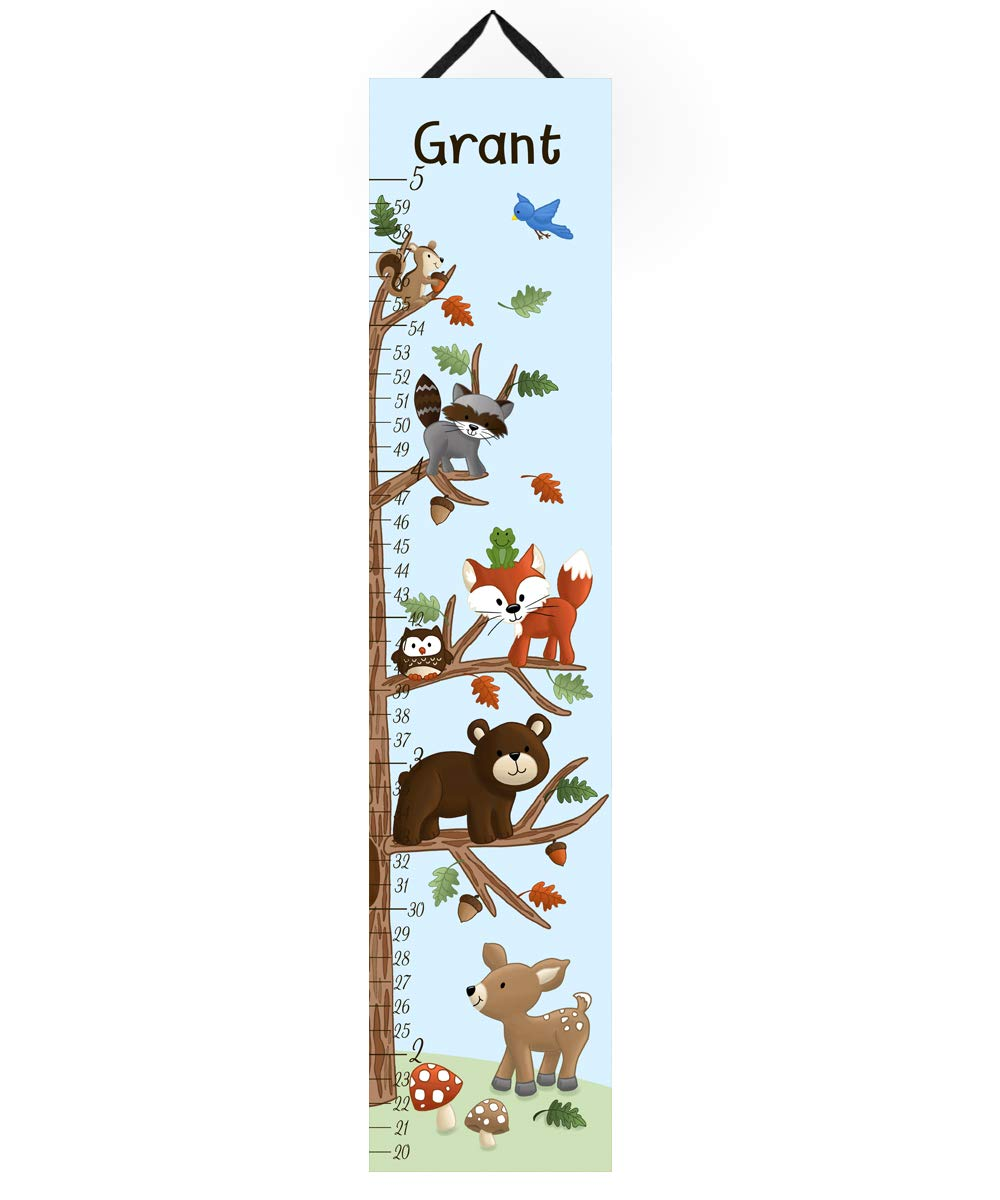 Canvas Growth Chart Woodland Friends Forest Animals Kids Bedroom Baby Nursery Wall Art Personalized Kids Growth Chart Height Chart GC0109 Toad and Lily