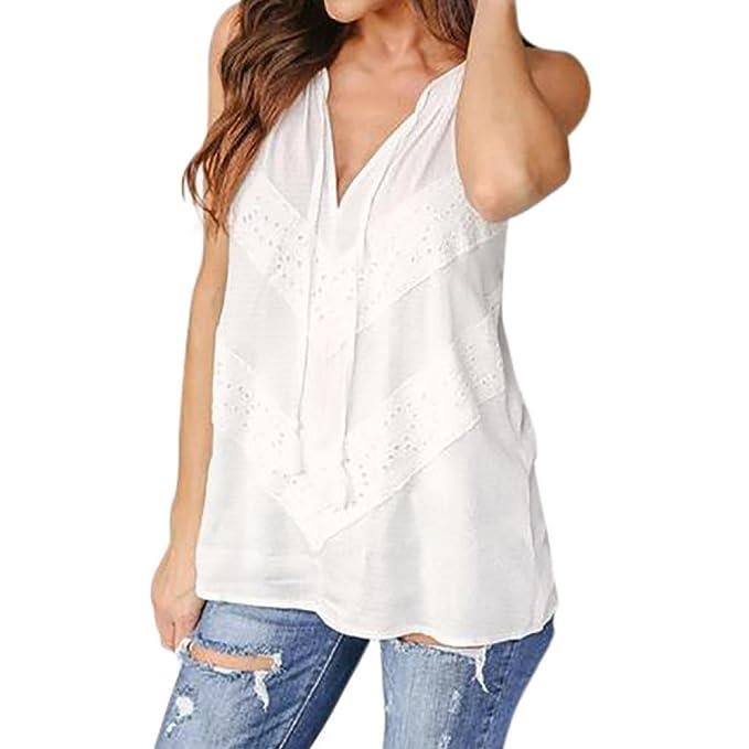 Btruely Herren_Mujer Camiseta Tirantes del Cordón Blusa Escote Sin Manga Cuello V Elegante Top Shirt Moda