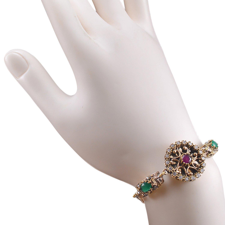 Saamarth Impex Emerald Ruby /& Topaz 925 Sterling Silver with Bronze Turkish Bracelet PG-105328 Lab
