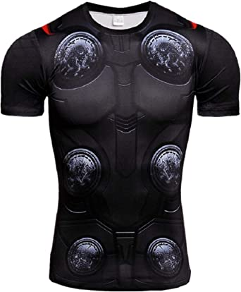 RONGANDHE Mens Super-Hero Compression Sports Fitness Elastic Gym Shirt Quick-Drying Running