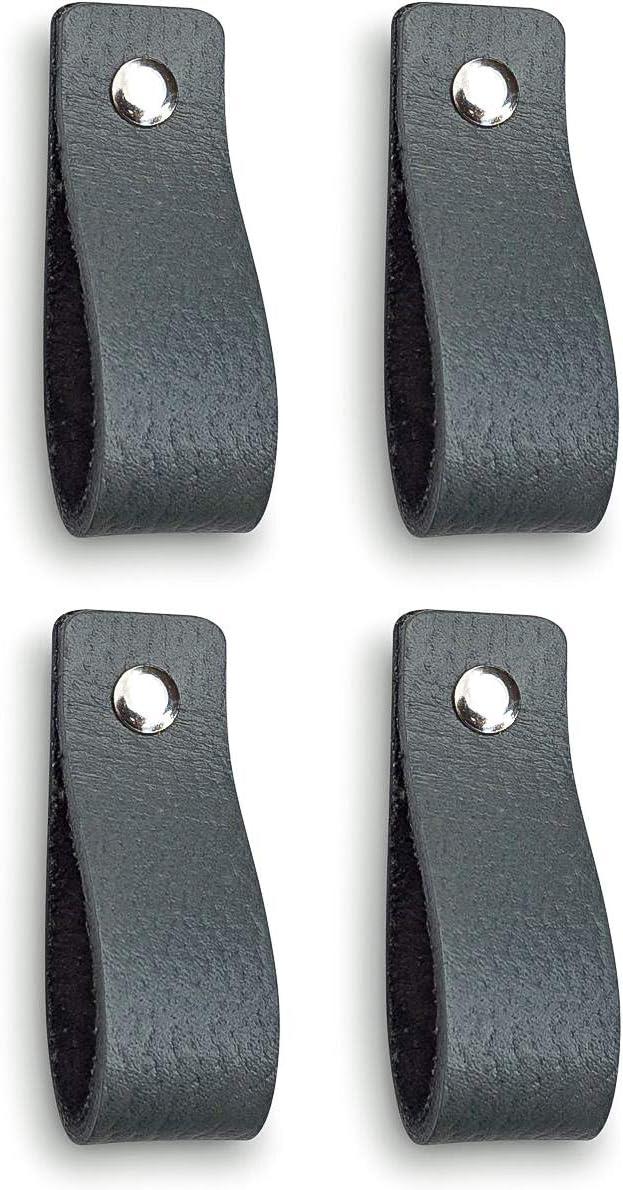 Tiradores de Cuero | Gris / 4 piezas | 16,5 x 2,5 cm | Piel de Granos | 3 tornillos de color - tiradores para Accesorio de Mobilario, armario, cajón, puerta