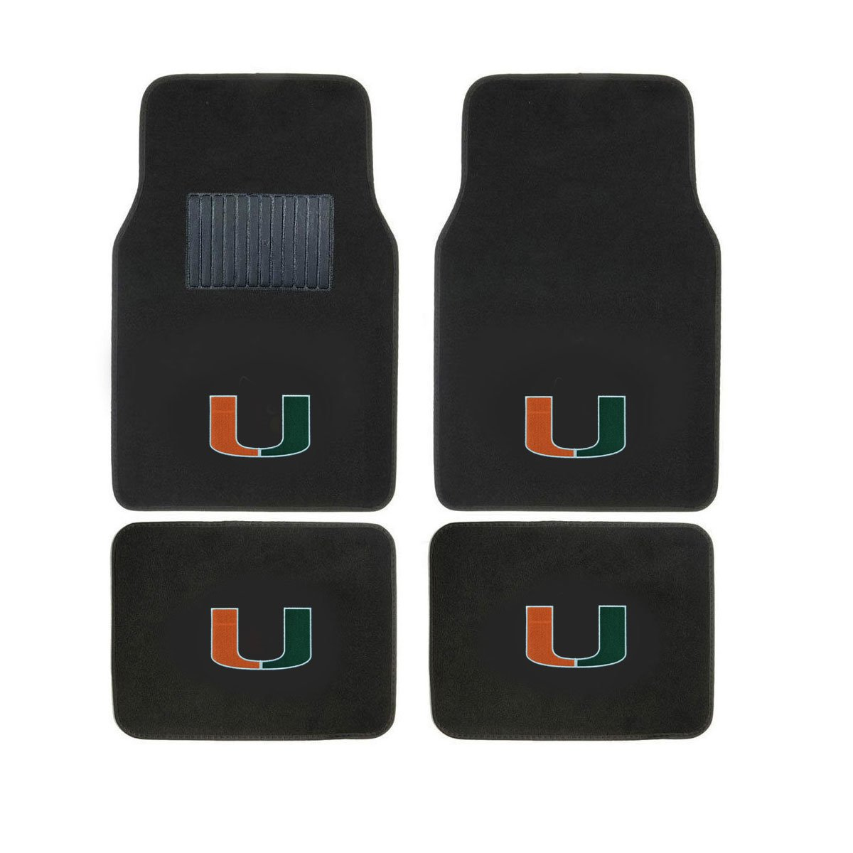 Perfect to University of Miami Hurricanes Fan You get 2 headrest covers and 4 Floor Mat in this gift set University of Miami Head Rest Cover and Floor mat Logo On Front and Rear Auto Floor Liner