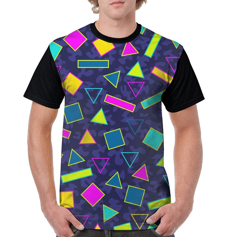 CKS DA WUQ Geometric Figure Men's Raglan Short Sleeve Tops T-Shirt Novelty Undershirts Baseball Tees by CKS DA WUQ
