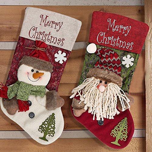 WELOVE 2PC Christmas Stocking Santa Claus Snowman Decorated