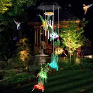 AceList Hummingbird Wind Chimes, Mobile LED Solar Powered Color Changing Outdoor Hanging Decoration Colorful Light Up Patio, Porch, Deck, Garden Decor Gift