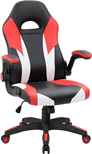 JUMMICO Gaming Chair Ergonomic Leather Racing Computer Chair High Back Adjustable Swivel Executive Office Desk Chair with Flip-Up Armrest Red
