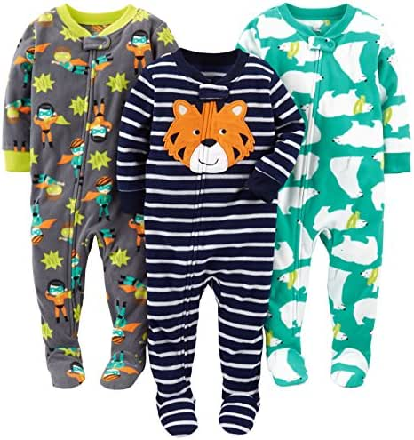 Simple Joys by Carter's Baby and Toddler Boys' 3-Pack Loose Fit Fleece Footed Pajamas