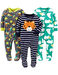 Boys' 3-Pack Loose Fit Flame Resistant Fleece Footed Pajamas