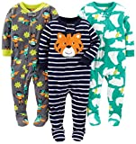 Simple Joys by Carter's Baby Boys' Toddler 3-Pack Flame Resistant Fleece Footed Pajamas, Tiger/Polar Bear/Superhero, 3T