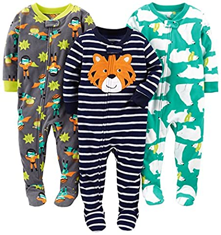 Simple Joys by Carter's Baby Boys' 3-Pack Flame Resistant Fleece Footed Pajamas, Tiger/Polar Bear/Superhero, 24 - Baby Boy Pajamas