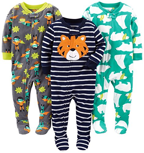 Simple Joys by Carter's Baby Boys' 3-Pack Loose Fit Flame Resistant Fleece Footed Pajamas, Tiger/Polar Bear/Superhero, 12 Months