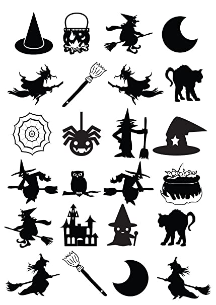 WITCH THEMED HALLOWEEN SILHOUETTE MULTI PACK x 24 , VINYL STICKERS