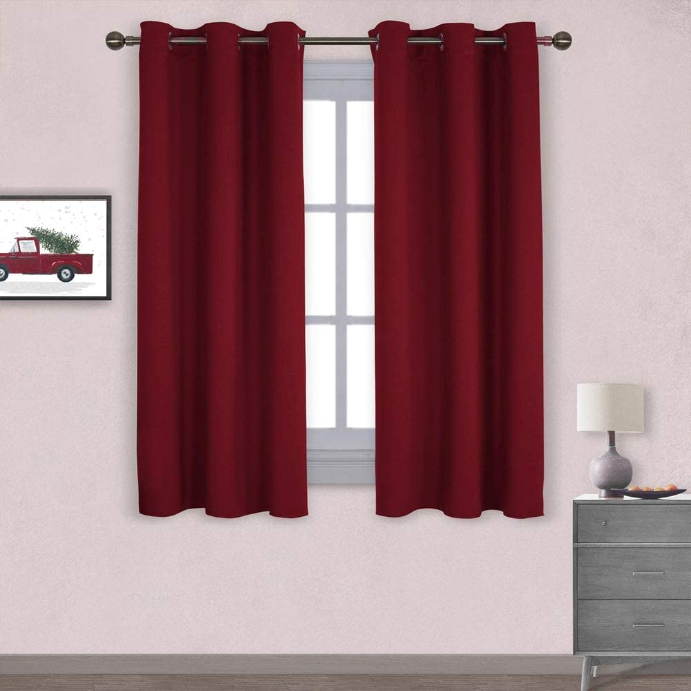 NICETOWN Holiday Decor Thermal Insulated Solid Grommet Blackout Curtains/Drapes for Living Room on Christmas & Thanksgiving (1 Pair, 42 by 63 inches, Burgundy Red)