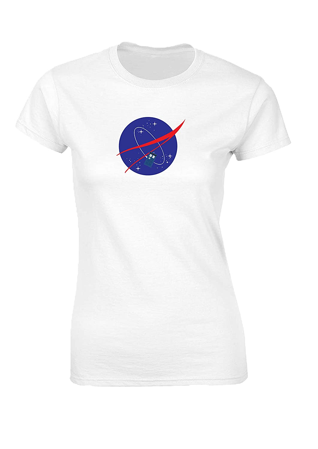 NASA Tardis Dr Who time and space adventure travel logo fitted Womens T Shirt