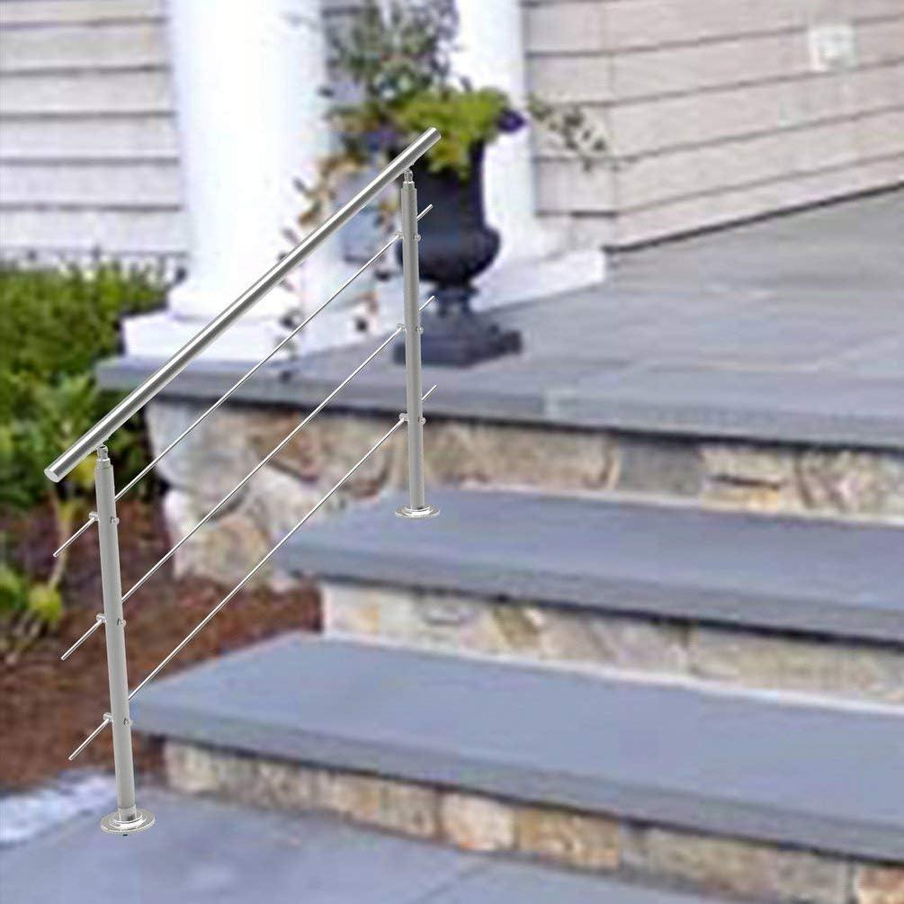 Barandilla de acero inoxidable, 2 postes, barandilla para escaleras, barandilla para balcón, barandilla para balcón, barandilla para escaleras, juego de construcción de 80 cm de largo, incluye 2 barras transversales para escaleras,