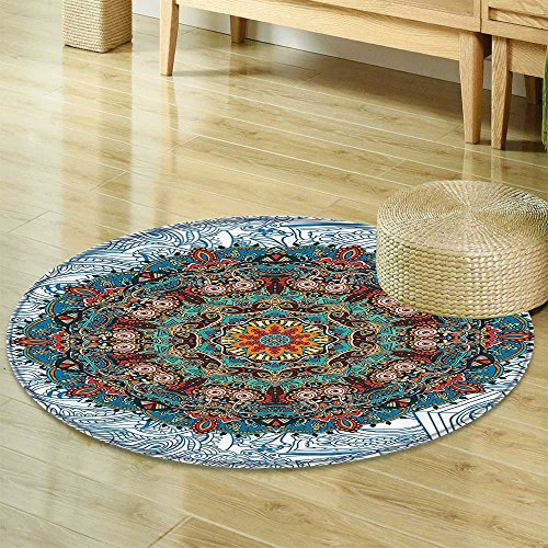 Elegance Octagon Rug (Mandala Circle carpet Bohemian Hippie Decor by Nalahomeqq Medallion Damask Star Patchwork Octagon Peacock Feather Yoga Art Print Fabric Room Circle carpet non-slip Blue White-Diameter 90cm(36