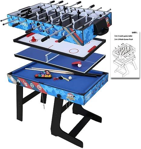 Umi. Essentials Mesa Multijuegos 5 en 1 Mesa de Juego para Fútbol, Ping Pong, Hockey, Billar y Baloncesto con Patas Plegables Ideal para Fiesta: Amazon.es: Deportes y aire libre