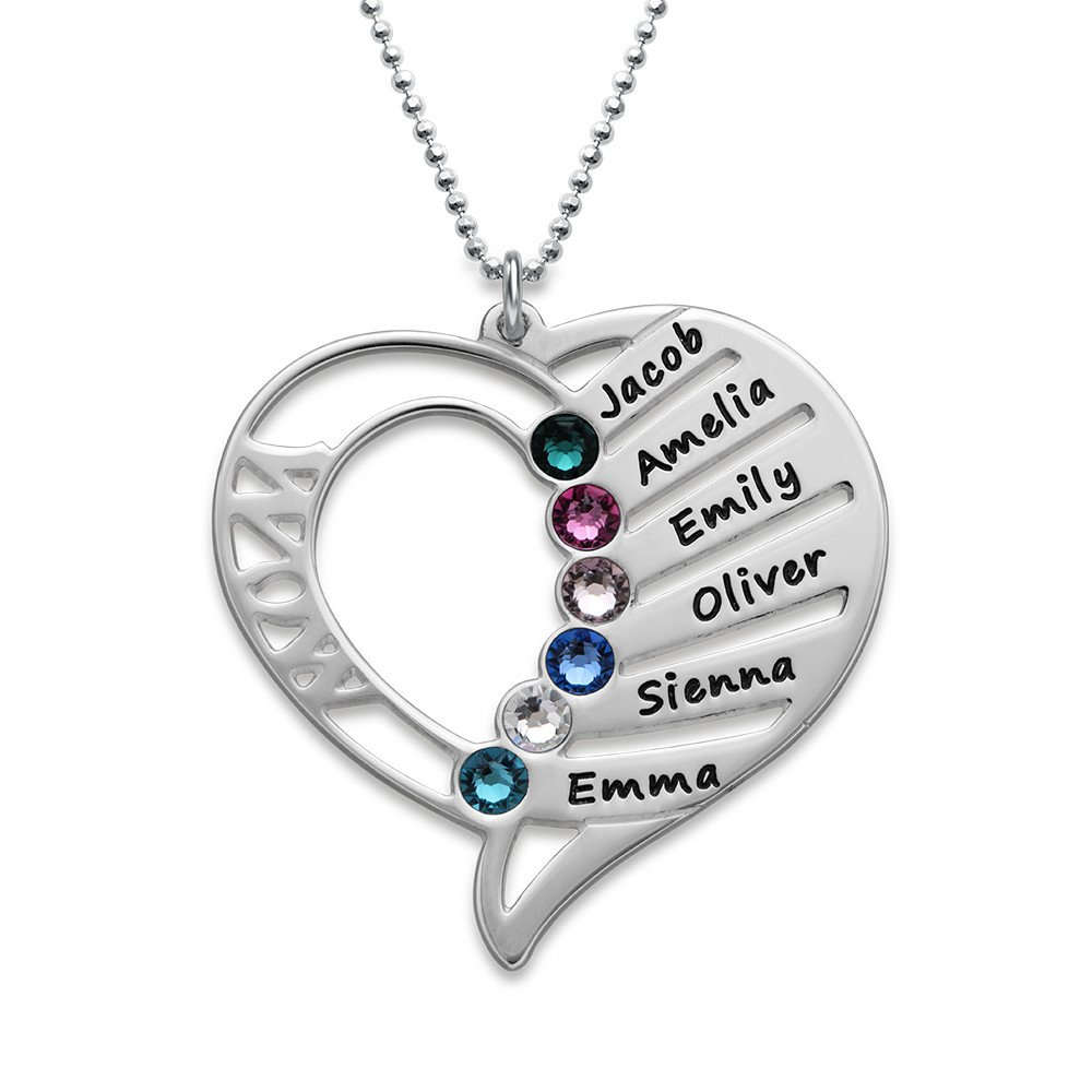 Engraved Mom Necklace w/Swarovski Birthstones - Personalized Heart Pendant 925 Sterling Silver